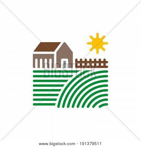 Farm house icon vector filled flat sign solid colorful pictogram. Village symbol logo illustration