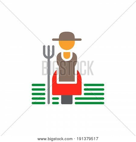 Farmer woman with hayfork icon vector filled flat sign solid colorful pictogram. Symbol logo illustration