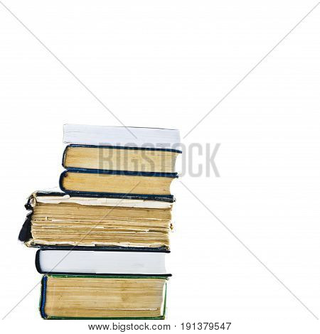 Stack of old books. Pile of old books isolated on white background