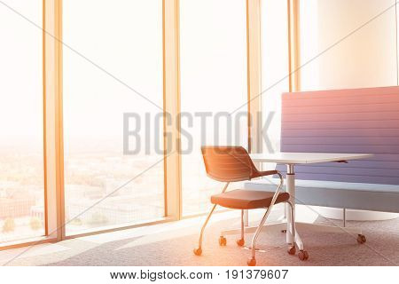 Office furniture near window