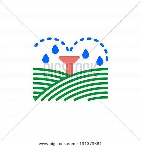 Irrigation sprinklers icon vector filled flat sign solid colorful pictogram. Symbol logo illustration