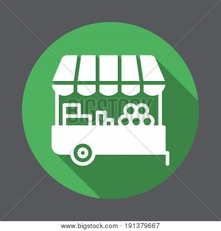 Farmer stall flat icon. Round colorful button circular vector sign with long shadow effect. Flat style design