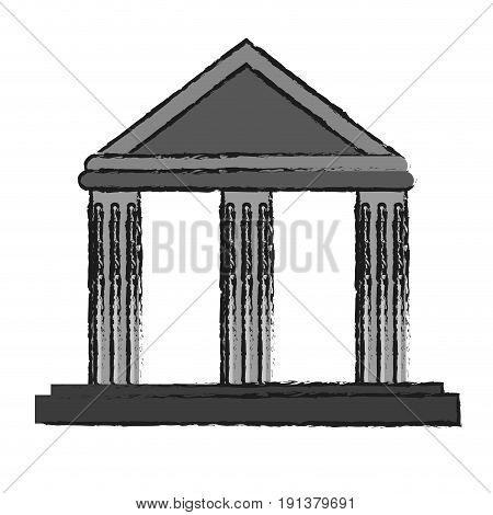 ancient greek building icon image vector illustration design  sketch style