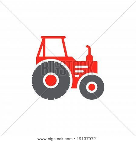 Tractor icon vector filled flat sign solid colorful pictogram. Symbol logo illustration