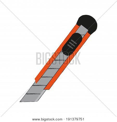 blade cutter office supplies related icon image vector illustration design  sketch style