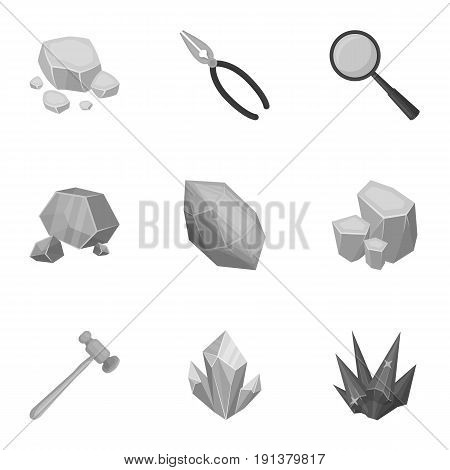 A set of jewelry, crystals, minerals and expensive metals. The jeweler inspects the ornaments. Precious minerals and jeweler icon in set collection on monochrome style vector symbol stock web illustration.