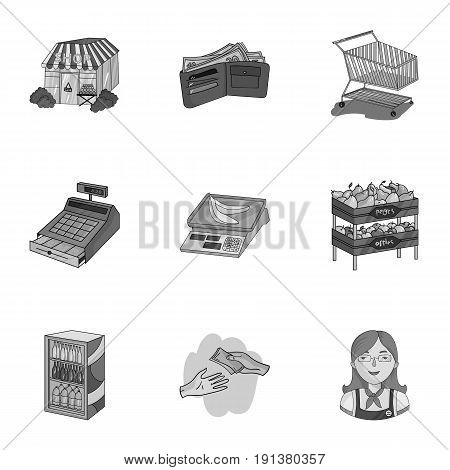 Supermarket, shopping in the store. A selection of pictures on the topic of shopping.Supermarket icon in set collection on monochrome style vector symbol stock web illustration.