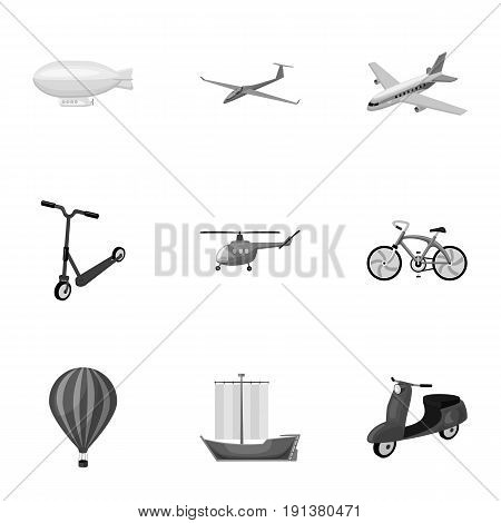 Set of pictures about types of transport. Transportation of people, cargo. Ground, underwater, air transport. Transport icon in set collection on monochrome style vector symbol stock web illustration.