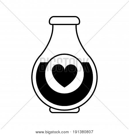 heart labeled flask or potion love valentines day related icon icon image vector illustration design  black line