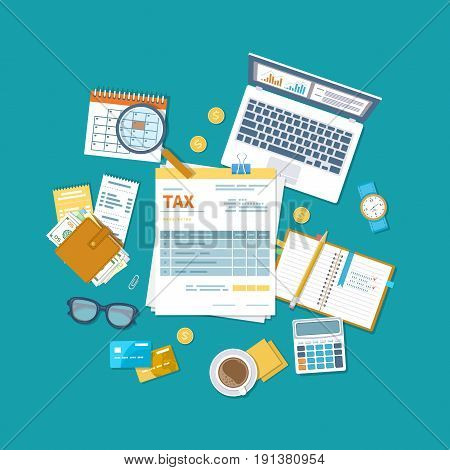 Tax payment concept. State Government taxation, calculation of tax return. Unfilled blank tax form, calendar, magnifier, money, notebook, calculator, coins, glasses, watches, documents, computer.