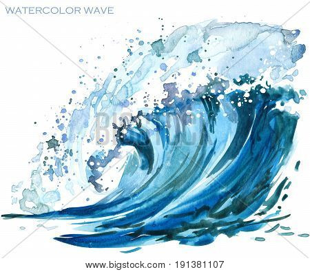 sea wave watercolor illustration. Watercolor painting illustration of a wave in blue tones.