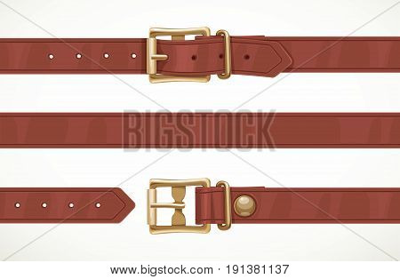 Brown thin leather belt buttoned unbuttoned and seamless middle part isolated on white background