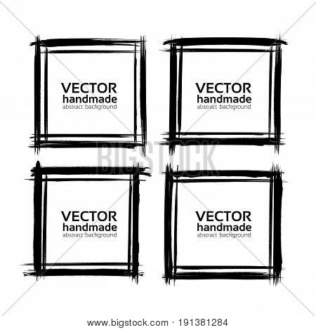 Four Square Frames Of Thin Textured Strokes Made With A Fine Brush Isolated On A White Background