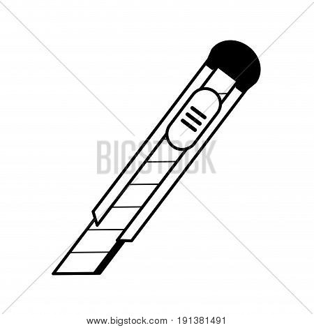 blade cutter office supplies related icon image vector illustration design  black line