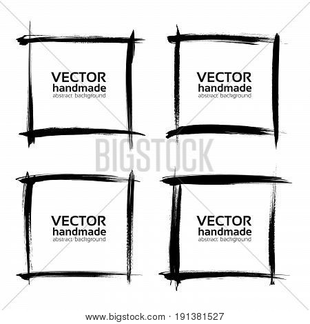 Square Frames Of Thin Textured Strokes Made With A Fine Brush Isolated On A White Background