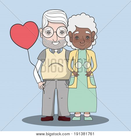 old people couple together forever with balloon vector illustration