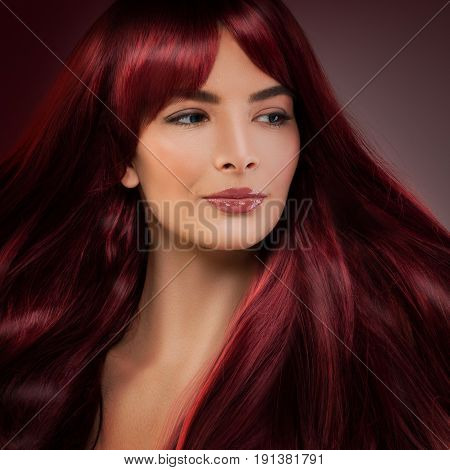 Beautiful Model Woman with Red Hair. Happy Redhead Model