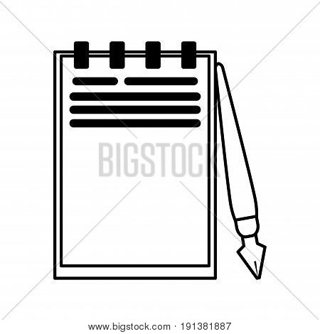 notepad with fountain pen icon image vector illustration design  black line