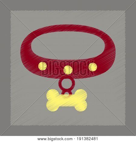flat shading style icon of dog collar