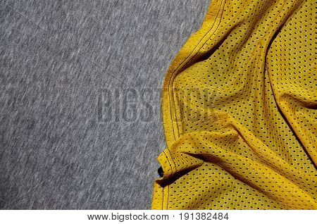 Top View Of Cloth Textile Surface. Close-up Rumpled Heater And Knitted Fabric Texture With A Thin St