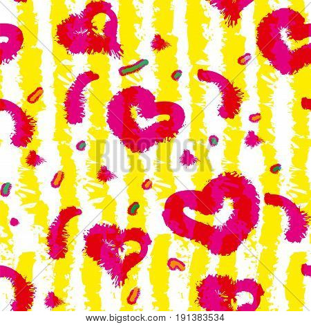 Bright summer pattern with hearts in yellow strips.Vector seamless pattern design with sketchy stripes. Vertical lines with torn paper effect.