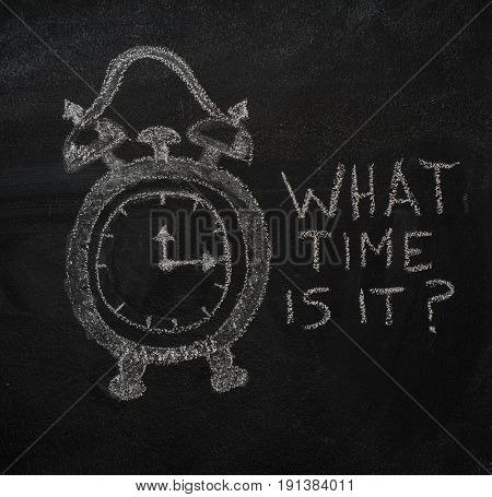 School alarm clock and Whta time is it? text drawn with chalk on blackboard and copyspace
