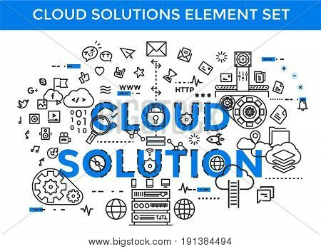 Cloud Icon Flat Design Internet of things concept and Cloud computing technology Smart Home Office Technology Internet networking concept. Internet of things cloud with apps. Cloud computing technology device. Cloud Upload Download Social Media.