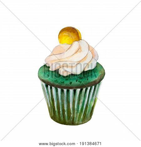 Saint Patricks day cupcake with coin watercolor illustration in hand-drawn style isolated on white background.