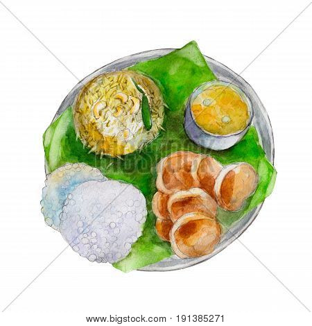 The national indian bengali food on leaf of a banana tree watercolor illustration isolated on white background.
