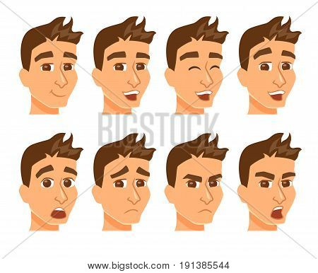 Avatars with expression. Man face with differnt emotions and mood. Cartoon male cheracter joy, laughter, sorrow, sadness, anger, surprise, shock