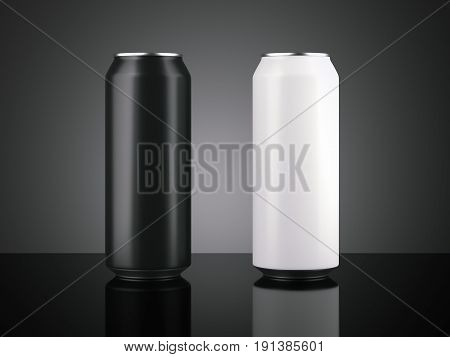 Two aluminum can isolated on black background. 3d rendering