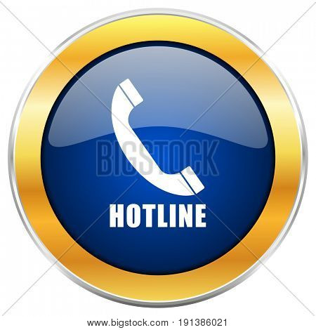 Hotline blue web icon with golden chrome metallic border isolated on white background for web and mobile apps designers.