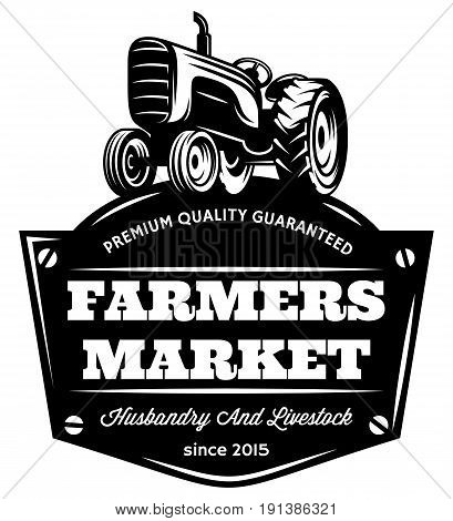 Vector monochrome pattern with vintage tractor on field.