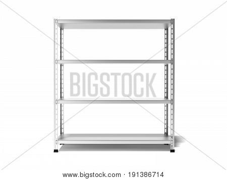 Empty store shelving isolated on white background. 3d rendering