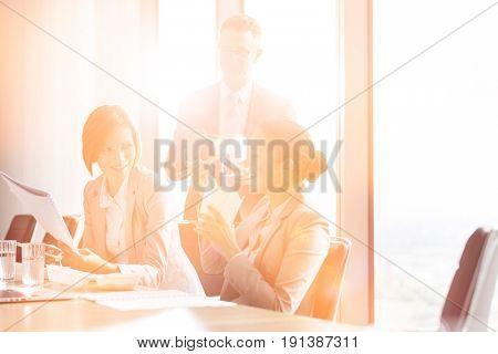 Business people having lunch break