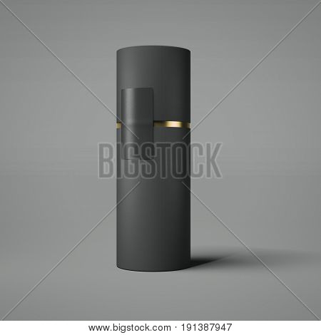 Black and gold tube isolated on gray background. 3d rendering