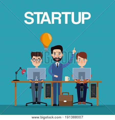 blue color background teamwork businessmen in workplace generating ideas vector illustration