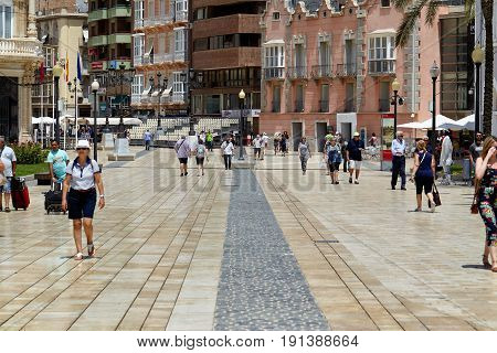 Cartagena, Spain - July 13, 2016: a street view in the historic center of Cartagena, where crowds of tourists are looking for the shops, restaurants and bars