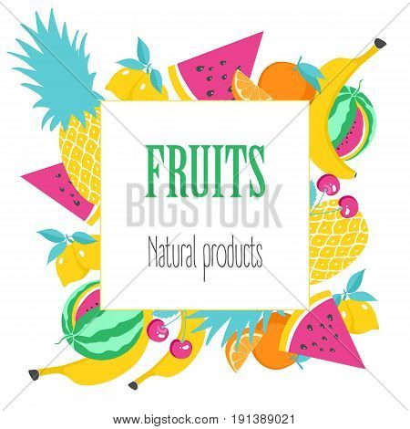Square banner with fruit. Natural product poster with fruit on white background. Vector illustration