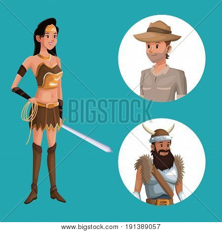 blue poster with indian warrior costume and icons male halloween costume vector illustration