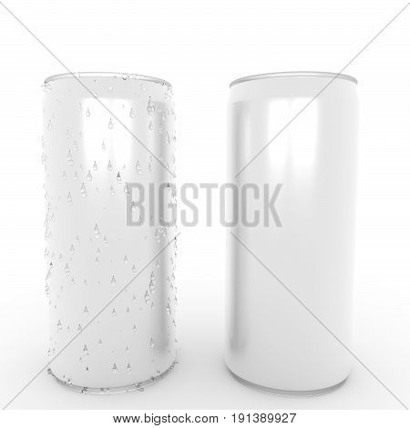 aluminum can with fresh water drop on isolated white in 3D rendering