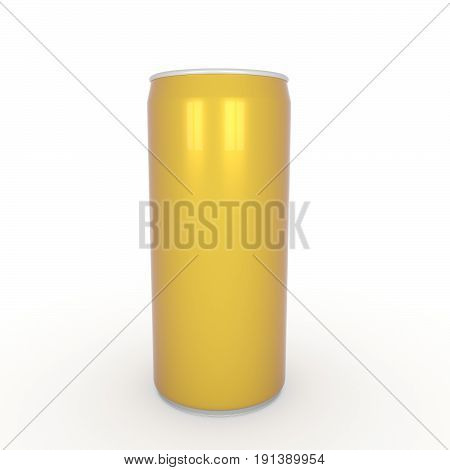 aluminum yellow can on isolated white in 3D rendering