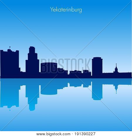 Detailed Vector skyline of Yekaterinburg with reflection. Russia