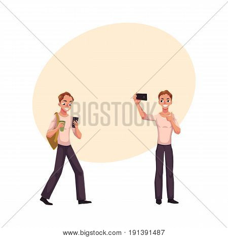 Young man using smartphone on the go, making selfie with mobile phone, cartoon vector illustration with space for text. Young man using mobile phone while walking, making phone of himself