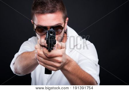 Gangster Killer Aiming At You With Automatic Gun