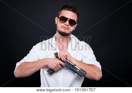 Male Gangster Or Gunman With Dangerous Pistol