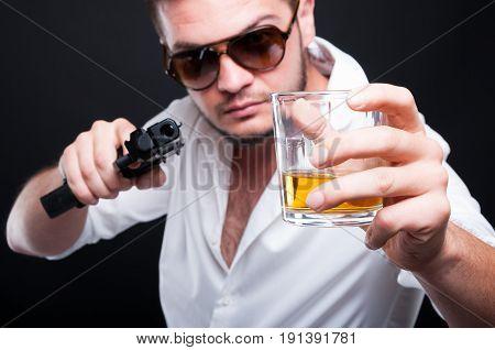 Male Assassin With Dangerous Pistol