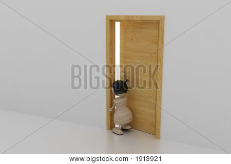 Girl Open Door