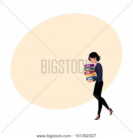 Young pretty businesswoman, woman, girl carrying pile of document folders, cartoon vector illustration with space for text. Businesswoman with folders of documents, heavy workload concept