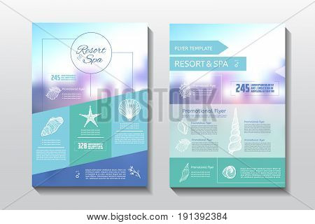 Resort and spa flyer. Spa wellness medical template. Vector brochure poster withe seashells. Vector illustration design.